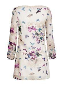 Yumi Butterfly Print Long Sleeve Shift Dress