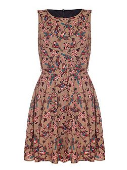Brown Bird & Blossom Printed Dress