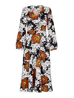 Multi Floral Printed Maxi Dress