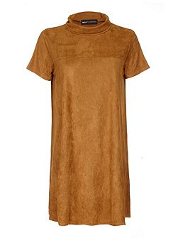 Tan Suedette Dress With Cowl Neck