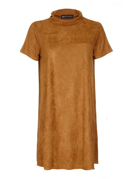 Mela London Tan Suedette Dress With Cowl Neck
