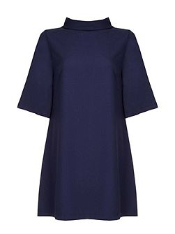 Navy Shift Dress With Zip Back