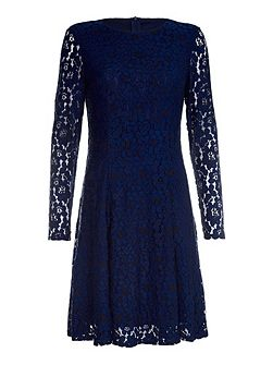 Navy Occasion Dress With Floral Lace