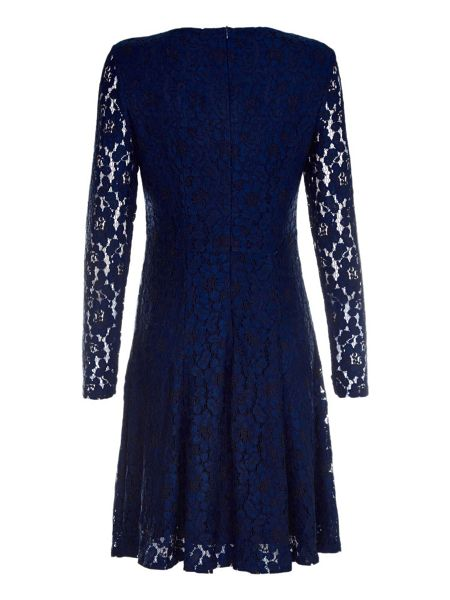Mela London Navy Occasion Dress With Floral Lace