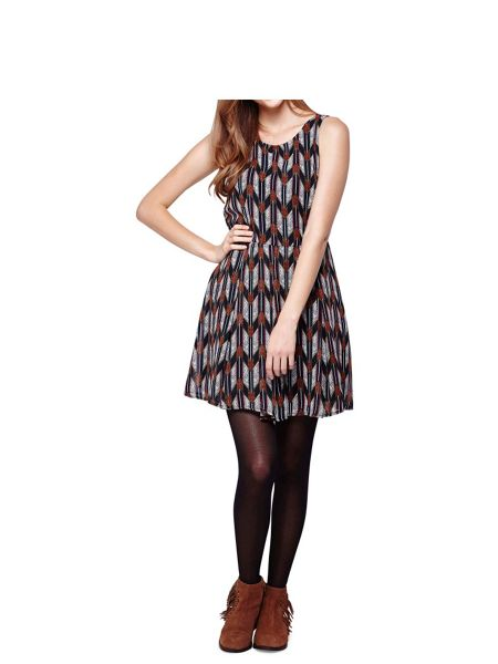 Mela London Multi Arrow Printed Sleeveless Dress