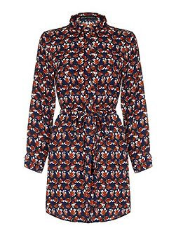 Navy Leaf Printed Belted Shirt Dress
