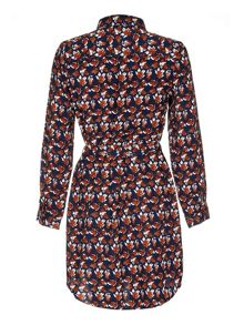 Mela London Navy Leaf Printed Belted Shirt Dress