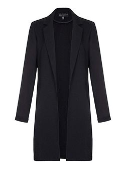 Black Long Blazer With Collar