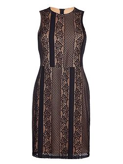 Black Sleeveless Dress With Contrast Lace
