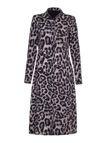 Mela London Leopard Printed Maxi Shirt Dress