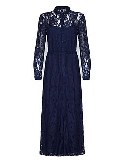 Navy Floral Lace Maxi Shirt Dress