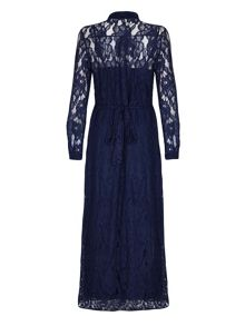 Mela London Navy Floral Lace Maxi Shirt Dress