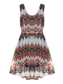 Mela Loves London Multi Zig Zag Stripe Lace Stripe Dress