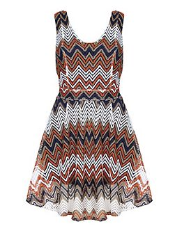 Multi Zig Zag Stripe Lace Stripe Dress