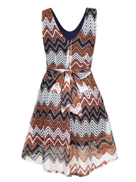 Mela London Multi Zig Zag Stripe Lace Stripe Dress