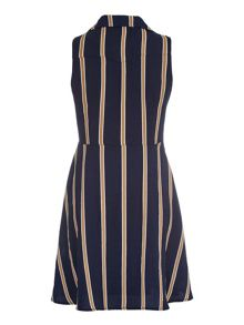 Mela Loves London Navy Striped Shirt Dress