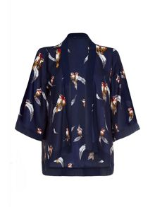 Mela Loves London Navy Kimono With Bird & Feather Print