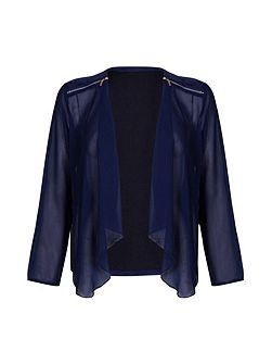 Navy Chiffon Zipped Waterfall Jacket