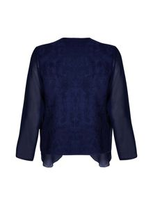 Mela London Navy Chiffon Zipped Waterfall Jacket