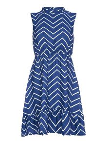 Mela Loves London Blue Chevron Printed Sleeveless Dress