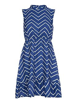 Blue Chevron Printed Sleeveless Dress