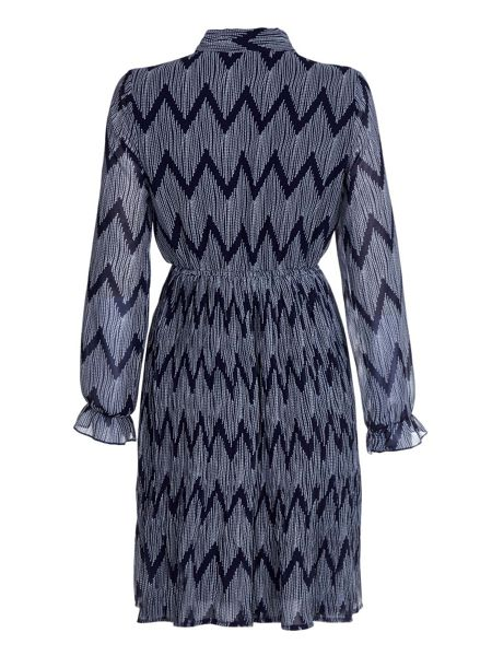 Mela London Navy Long Sleeve Dress With Dot Print