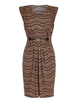 Tan Belted Dress With Chevron Print