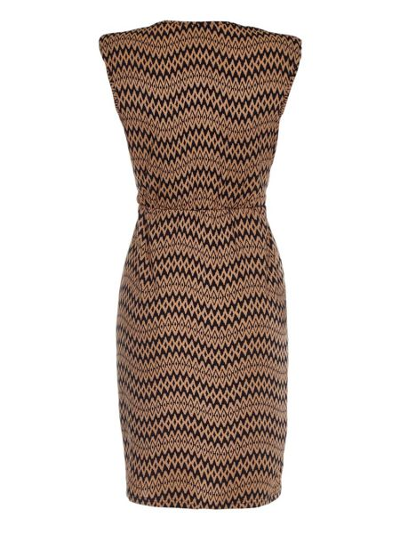 Mela London Tan Belted Dress With Chevron Print