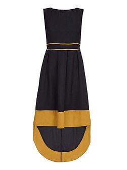 Black Sleeveless Dress With Dropped Hem