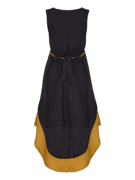 Mela London Black Sleeveless Dress With Dropped Hem