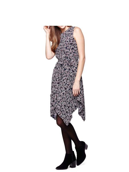 Mela London Navy Daisy Printed Day Dress