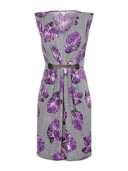 Purple Floral Printed Belt Dress