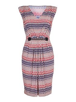 Belted Dress With Aztec Print
