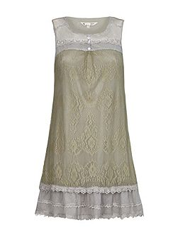 Sleeveless Dress With Floral Lace