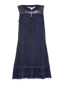 Yumi Navy Sleeveless Dress With Floral Lace