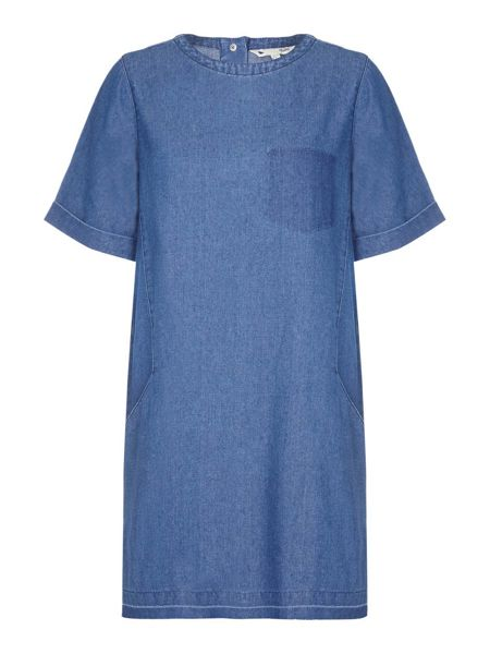 Yumi Denim Shift Dress With Short Sleeves