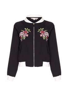 Yumi Bomber Jacket With Floral Embroidery