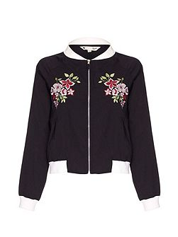 Bomber Jacket With Floral Embroidery
