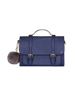 Satchel Bag With Pom Pom