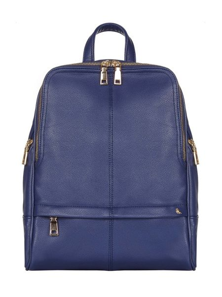 Yumi Faux Leather Gold Zip Backpack