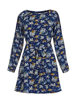 Blue Floral Print Cold Shoulder Dress