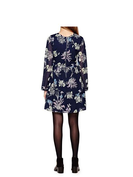 Yumi Navy Floral Print Dress With Long Sleeves