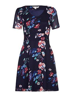 Navy Floral Print Lace Detail Dress