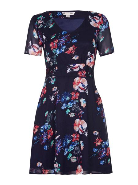 Yumi Navy Floral Print Lace Detail Dress