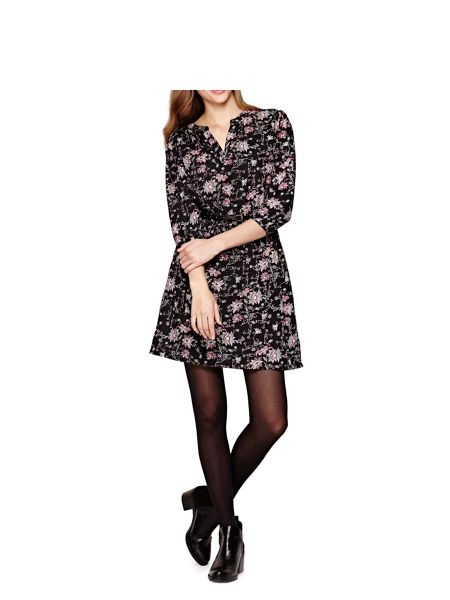Yumi Black Floral Printed Dress