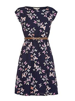 Navy Butterfly Print Belt Dress