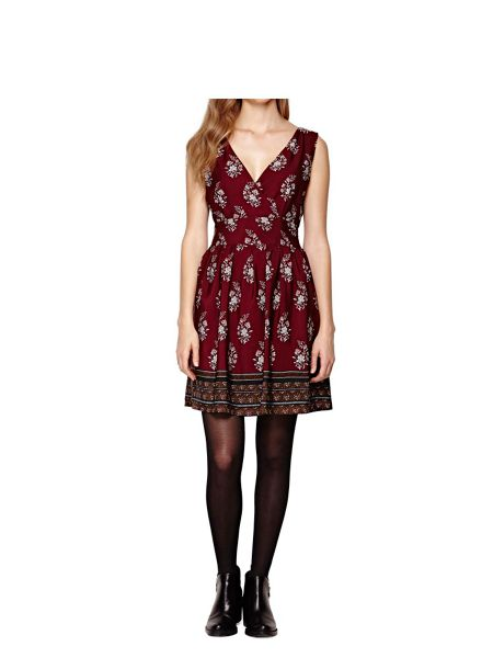 Yumi Burgundy Floral Dress With Contrast Hem