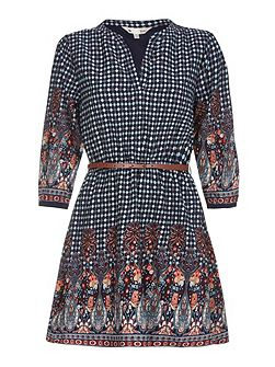 Navy Belted Dress With Tile Print