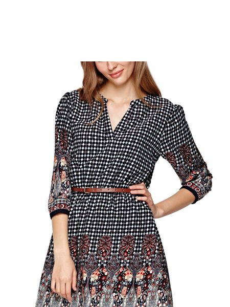 Yumi Navy Belted Dress With Tile Print
