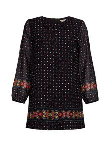 Yumi Black Shift Dress With Floral Spot Print